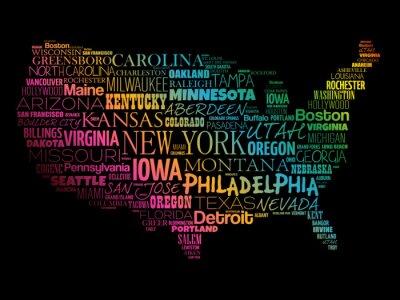 Tapeta Mapa USA word chmura kolażu z większości miast