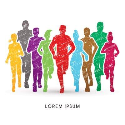 Tapeta Maratończyków, mające za pomocą pędzla grunge kolorowe grafiki wektorowej.