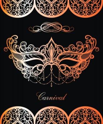 Tapeta Maska karnawałowa. Piękny projekt w złocie