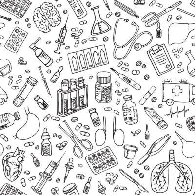 Tapeta medycyna doodle wzór