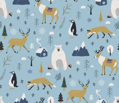 Tapeta Merry Christmas winter pattern. Seamless pattern with winter animals, reindeer, bear, deer, penguin. Vector hand drawn scandinavian animals in the forest.