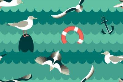 Tapeta Mewy. Bezszwowy wzór z dennymi ptakami w stylu mieszkania. Ilustracji wektorowych.