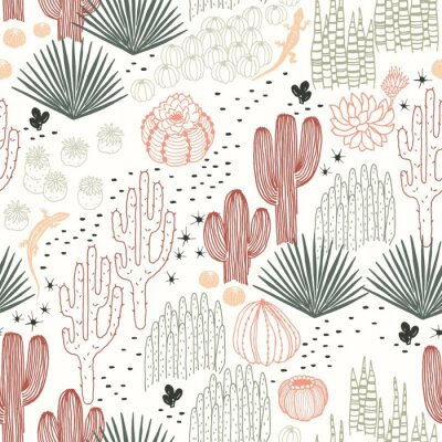 Tapeta Mexican seamless pattern with cacti, succulents and lizards, wilderness, environment, landscape. Vector hand drawn illustration in vintage style on ivory background.