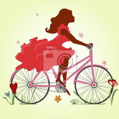 7cd5d7ca Tapeta: Młoda dziewczyna w czerwonej sukni jeździ na rowerze. ilustracji