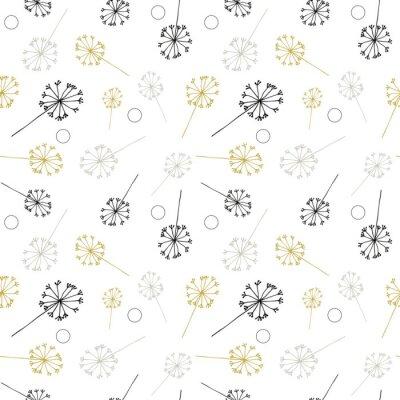 Tapeta Mniszka lekarskiego lub mniszka orzechowego, np. Kwiatów i wzorca siewnego. Wektor kwiatowy powtarzać bez szwu z prostymi ręcznie rysowane stylizowane kwiaty.