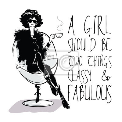 Tapeta Moda cytatem z mody kobieta w stylu szkicu.
