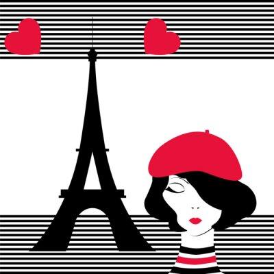 Tapeta moda dziewczyna marzy o Paryżu