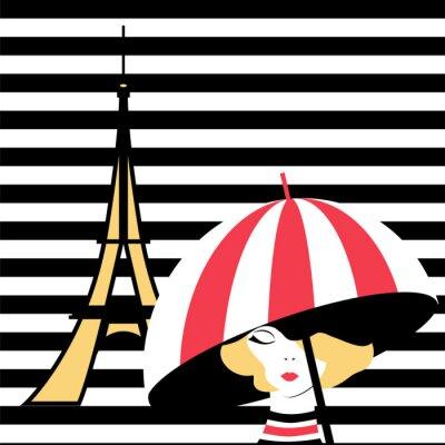 Tapeta moda dziewczyna z parasolem w Paryżu