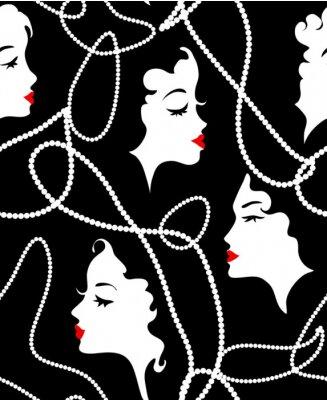 Tapeta Moda retro dziewczyna bezszwowych wzór. Model Kobiety, martwe, czerwone usta na tle twarzy