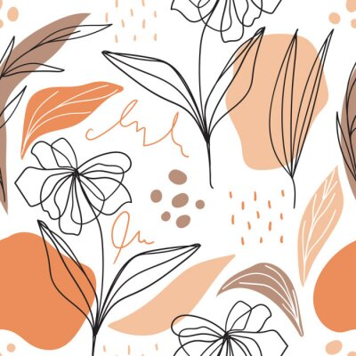 Tapeta Modern floral seamless pattern with abstract shapes for print, fabric, wallpaper. Scandinavian aesthetic background. Hand drawn floral background.