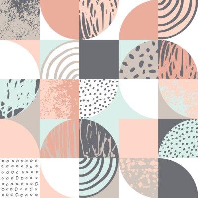 Tapeta Modern seamless geometric pattern: semicircles, circles, squares, grunge textures, doodles