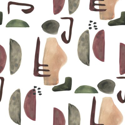 Tapeta Modern seamless pattern with watercolor and geometric elements on white background. Abstract nordic print. Scandinavian style. Hand drawn illustration