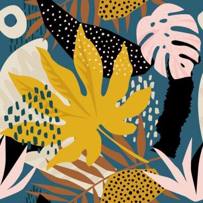 Tapeta Modny egzotyczny wzór z tropikalnymi roślinami i zwierzęcymi nadrukami. Ilustracji wektorowych. Nowoczesny projekt abstrakcyjny dla papieru, tapety, okładki, tkaniny, wystroju wnętrz i innych użytkown