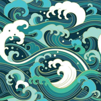 Tapeta Morskich bezszwowych wzór z falami wody