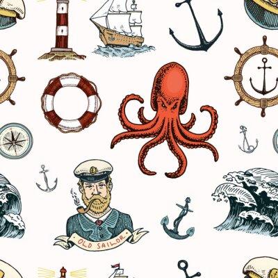 Tapeta Morskie i morskie lub morskie, godła oceanu. wzór. zestaw vintage grawerowane, wyciągnąć rękę, stare, etykiety lub odznaki na życie pierścień, kulę armatnią, kapitan z rurą.
