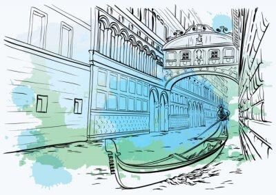 Tapeta Most Westchnień, Wenecja, projekt akwarela