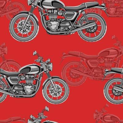 Tapeta Motocykl bez szwu deseń, wektor tła. Monochromatyczny ilustracji. Czarno-białe motocykle z wielu szczegółów na czerwonym tle. Do projektowania tapet, tkanin, opakowań