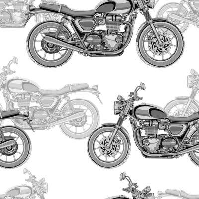Tapeta Motocykl bez szwu deseń, wektor tła. Monochromatyczny ilustracji. Motocykle czarno-białe z wielu szczegółów na białym tle. Do projektowania tapet, tkanin, opakowań