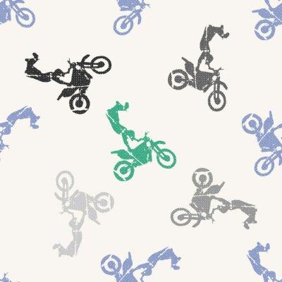 Tapeta Motocykl i rowerzystów mężczyzna wzoru ilustracja. Obraz w stylu kreatywnym i sportowym