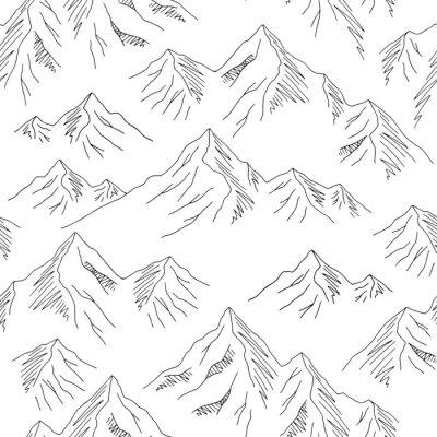 Tapeta Mountains graphic black white seamless pattern landscape background sketch illustration vector