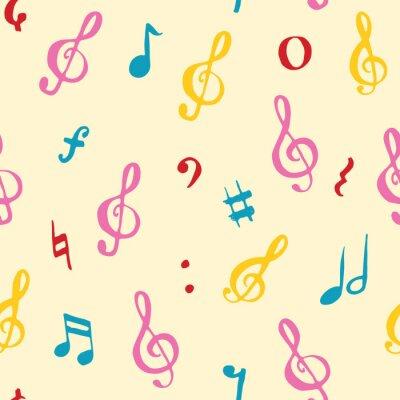 Tapeta Muzyczna nutowa bezszwowa deseniowa wektorowa ilustracja. Ręcznie rysowane doodle szkic symbole muzyki notatki