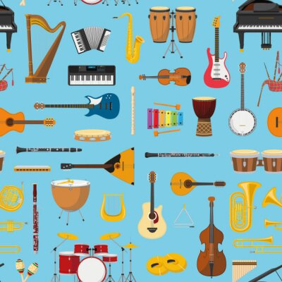 Tapeta Muzyczny instrumentalny bezszwowy deseniowy tło. Vector illustracion