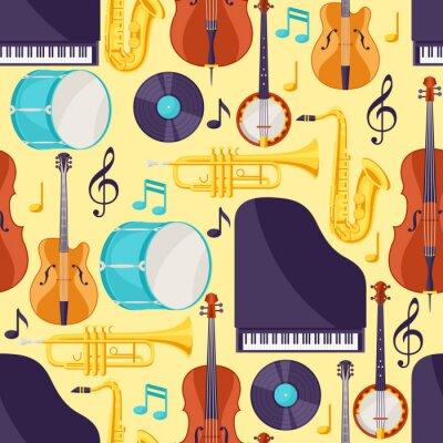 Tapeta Muzyka jazzowa wzór z instrumentów muzycznych