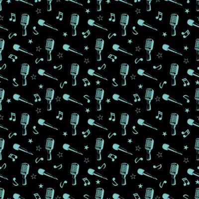 Tapeta Muzykalny szwu - notatki muzyczne, gwiazdy i mikrofony