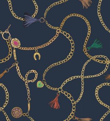 Tapeta Nadruk ze złotymi łańcuchami. Wektor wzór Projektowanie tkanin.