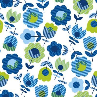 Tapeta Naive folk style spring flowers seamless pattern