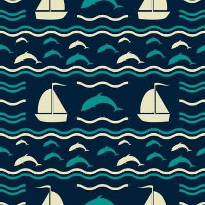 Tapeta Nautyczny wzór z falami, delfinami i żaglami