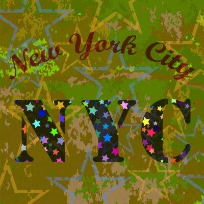 Tapeta New York Koszulka Emblem.Print typografii. Retro Label. Sport Vintage wzór. Gwiaździste Koszykówka Logo na grunge zielone tło