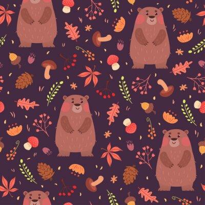 Tapeta Niedźwiedzie i zioła bez szwu deseń