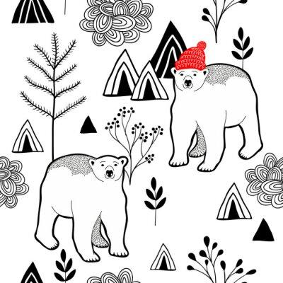 Tapeta Nieskończony wzór z niedźwiedzia polarnego w czerwonym ciepła w górach.