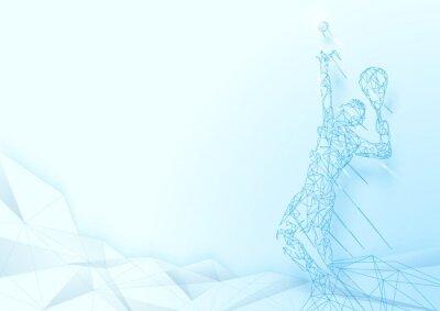 Tapeta Niski wielokąt Służy do siatkówki siatki siatkówki na miękkich niebieskim tle