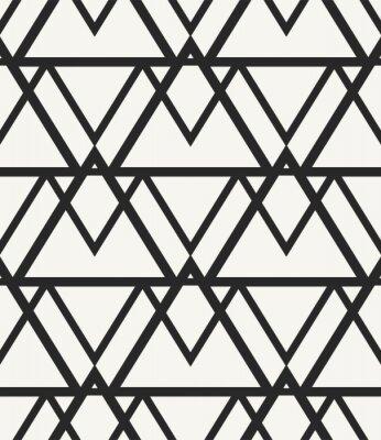 Tapeta Nowoczesne stylowe monochromatyczne tło geometryczne w modnym stylu hipster. Powtarzanie tekstur o nieregularnej strukturze trójkątów ustawionych w stylizowany pasmo górskie. Wektor bez szwu deseń.