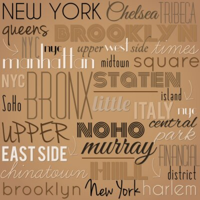 Tapeta Nowy Jork - retro, vintage, vector background.