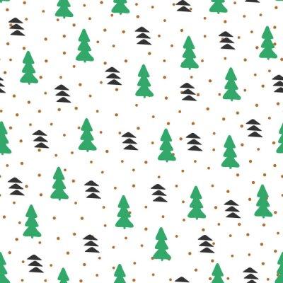 Tapeta Nowy rok wzór z choinek. Rysowane ręcznie. Biały, brązowy, zielony, czarny.