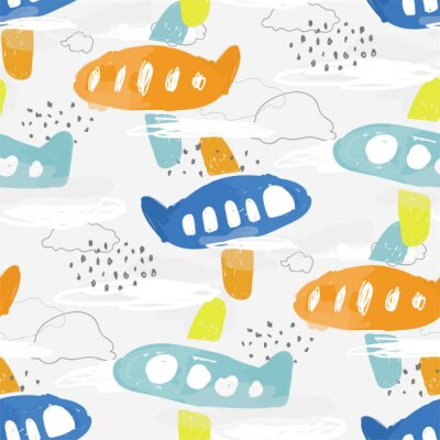 Tapeta Nursery seamless pattern of baby illustration for boy of hand drawing multicolored airplanes. Childish simple travel backdrop for fabric, textile, paper, wallpaper, wrapping, poster, print design.