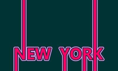 Tapeta Obraz względem tematu podróży w USA. Nowy Jork nazwa miasta w stylu geometrycznym. Twórcza koncepcja plakatowa typografia. Litery żarówek neonowych