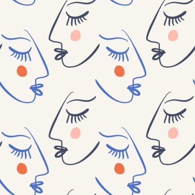 Tapeta One line drawing abstract faces seamless pattern. Modern aesthetic print, minimalism, contour line art. Continuous with people faces. Vector