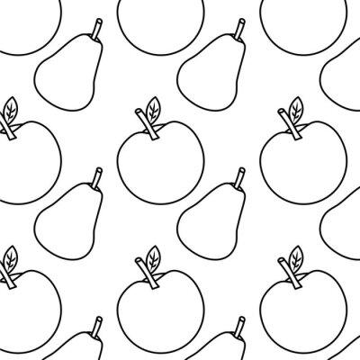 Tapeta owoce jabłko i gruszka świeże wektor wzór ilustracja