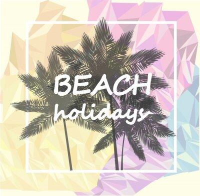 Tapeta palmy na kolorowym tle, weekend na plaży, ilustracji wektorowych