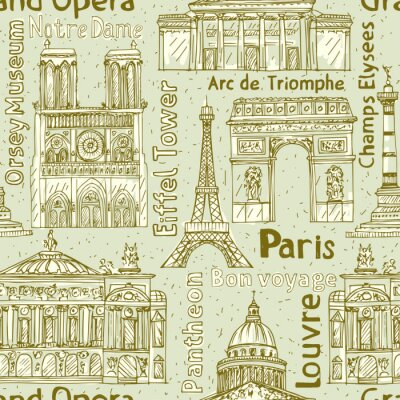 Tapeta Paris orientacyjne bez szwu wektora deseniu