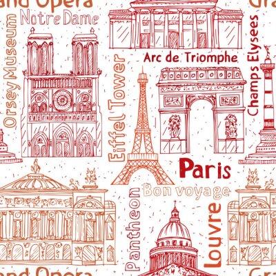 Tapeta Paryż punkt orientacyjny ręcznie rysowane bezszwowe wektor wzór