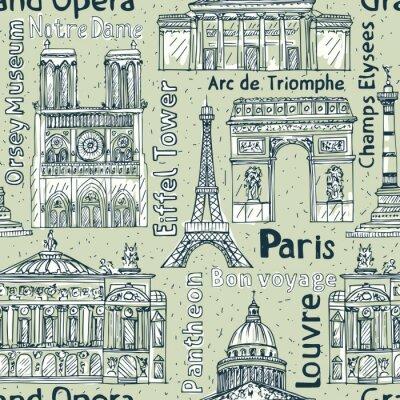 Tapeta Paryż punkty orientacyjne bez szwu wektora deseniu. Hand wyci? Gn ?? Eiffla Tower, Notre Dame de Paris,? Uku Triumfalnego, Wielki Opera, Panteon