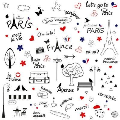 Tapeta Paryż szkic ilustracji. Zestaw elementów projektu wyciągnąć rękę