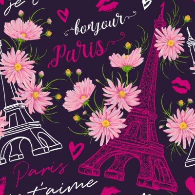 Tapeta Paryż. Vintage bezszwowe wzór z Wieży Eiffla, pocałunki, serca i różowe kwiaty rumianku w akwarelowy stylu. Retro ręcznie rysowane ilustracji wektorowych. (Tłumaczenie: Witam Paris I love you)