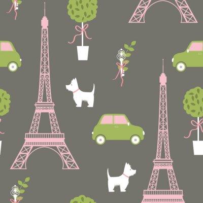 Tapeta Paryż. Wieża Eiffla, pies, samochód, drzewo. Wzór wektora.