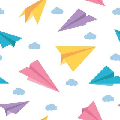 Tapeta Pastelowego papieru samolotów bezszwowy kolorowy śliczny wzór